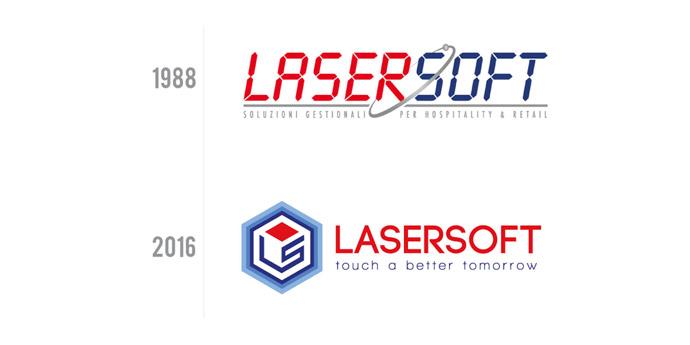 confronto fra vecchio logo di Lasersoft e nuovo logo studiato da Big Rocket