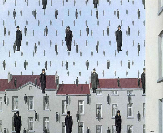 Il dipinto Golconda di Magritte dove uomini eleganti piovono dal cielo